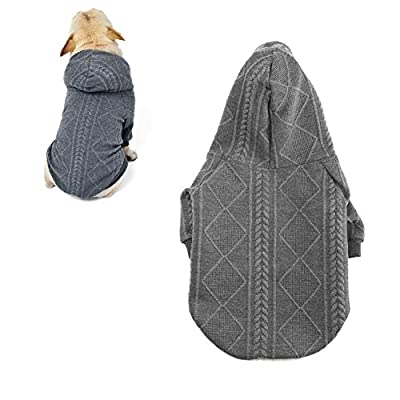 meioro Zipper Hooded Dog Sweater Pet Clothing Dog Cat Clothes Cute Pet Clothing Warm Hooded Winter Warm Puppy French Bulldog Pug (L, Grey)