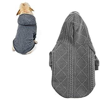 meioro Pull pour Chien Vêtements pour Chiens Chauds Sweats à Capuch Joli Manteau d'hiver Adapté aux Chiens de Petite et Moyenne Taille French Bulldog Pug(Gris,XL)