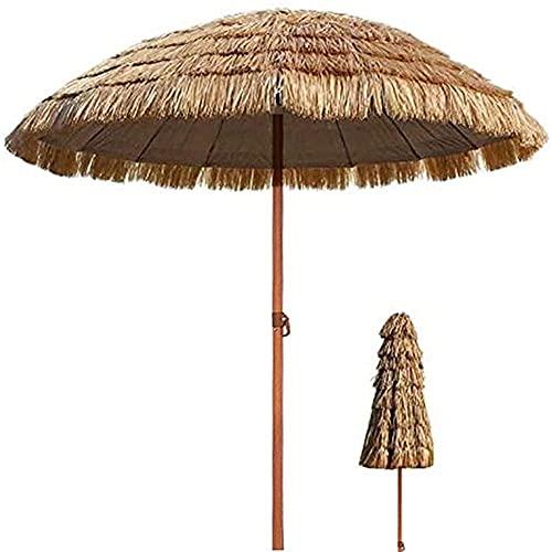 WSDSX Sombrilla Jardin,Paraguas Tiki portátil de 2 m / 6,5 pies Que imita la Paja, sombrilla de Playa Redonda de Paja de Rafia de Color Natural para jardín al Aire Libre, Piscina, Tienda, sombrilla