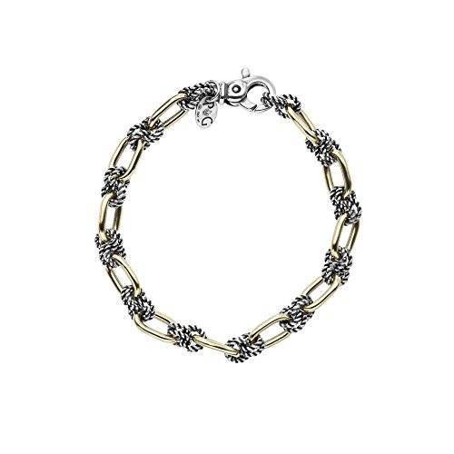 18k Yellow Gold And Sterling Silver Antique Link Bracelet