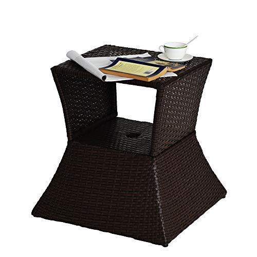 Sundale Outdoor Wicker Umbrella Table All Weather Rattan Garden Furniture Deck Pool Table