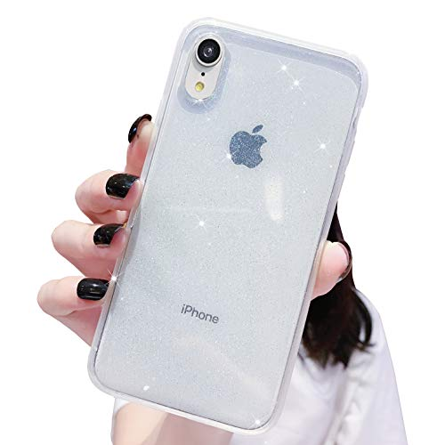 Anynve Compatible with iPhone XR Case Bling,Clear Glitter Sparkle Case for Women [ Anti-Shock Matte Edge Bumper Design] Cute Slim Soft Silicone Gel Cover Phone Case 6.1''-Clear