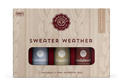 Woolzies 100% Pure & Natural Sweater Weather Essential Oil Set of 3 | Incl. Lavender, Vanilla, Sandalwood Oils | Great for Relaxing & Soothing | Therapeutic Grade Aromatherapy