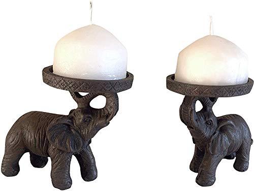 Grandma's Home Shopping 2 Elephant Candle Holder Ornament Candlestick