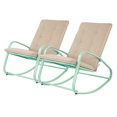 OC Orange-Casual Patio Furniture Rocking Chairs with Removable Paded Beige Cushion, Outdoor & Indoor Metal Rocker, Turquoise, Set of 2