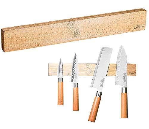 TokioKitchenWare Messermagnet: Originelle Messer-Magnetleiste aus echtem Bambus-Holz (Magnet Messerleiste)