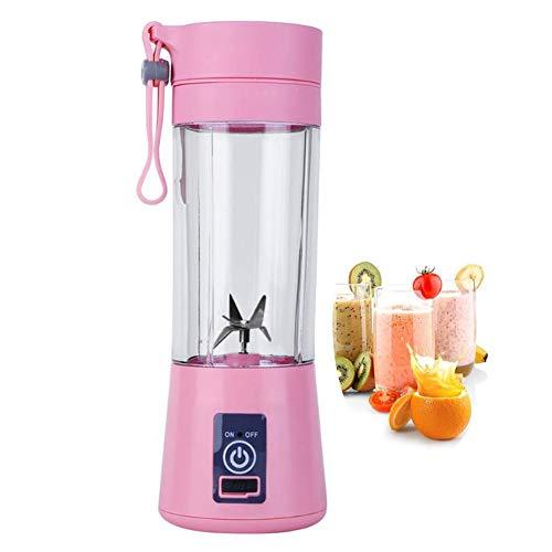 Tragbarer Mixer, Sechs Klingen in 3D, 400ml Fruchtmischmaschine w / 2000mAh USB-Akkus, Abnehmbarer Körper,Pink