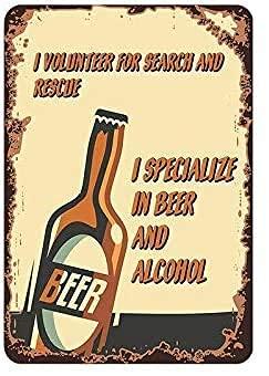 Letrero de metal vintage con texto 'I Specialize In Beer And Alcohol - Decoración para el hogar, pub, bar, hombre, cueva, garaje, decoración de restaurante, 20 x 30 cm