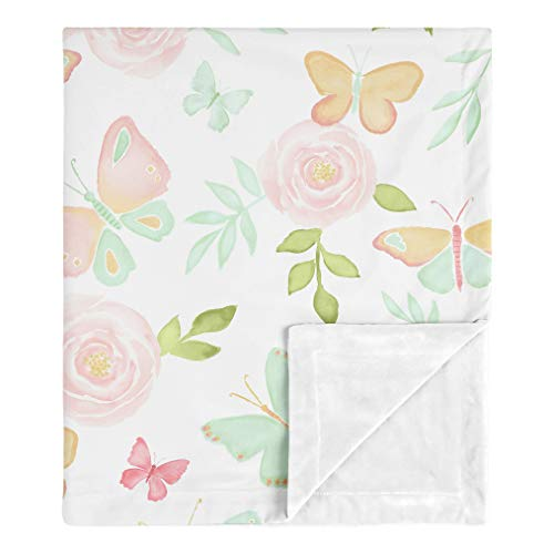 Sweet Jojo Designs Butterfly Floral Baby Girl Receiving Security Swaddle Blanket for Newborn or Toddler Nursery Car Seat Stroller Soft Minky - Blush Pink, Mint and White Shabby Chic Watercolor Rose