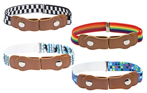 Kids No Buckle Belt (4-Pack) Designer Comfort for Boys and Girls   Elastic Stretch Fit   Supports Independent Toddlers (Set B)