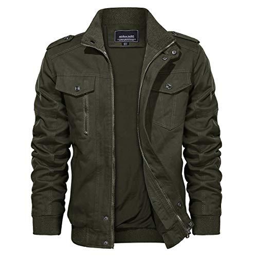 TACVASEN Mens Cargo Jacket Cotton Army Outwear Windbreaker Coat Green, S