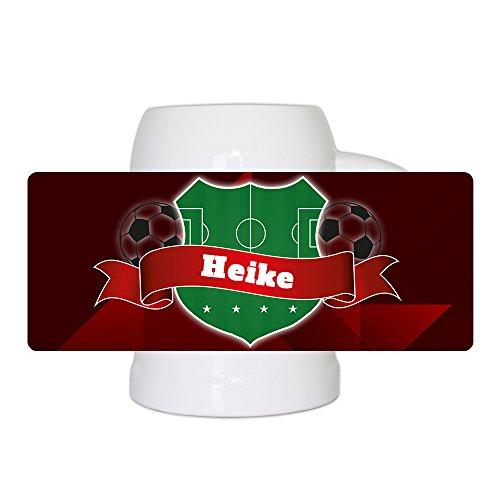 Fußball-Bierkrug mit Namen Heike und schönem Fußball-Wappen - Fan-Bierkrug personalisiert - Deutschland-Krug - Bierhumpen