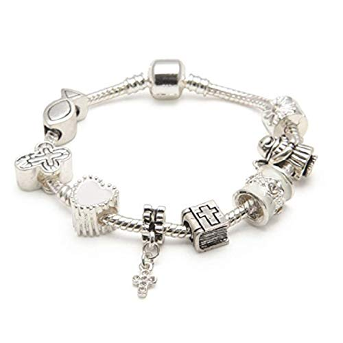 Liberty Charms First Communion Gifts for Girls Silver Plated Charm Bracelet with Gift Box (6.7in/17cm)