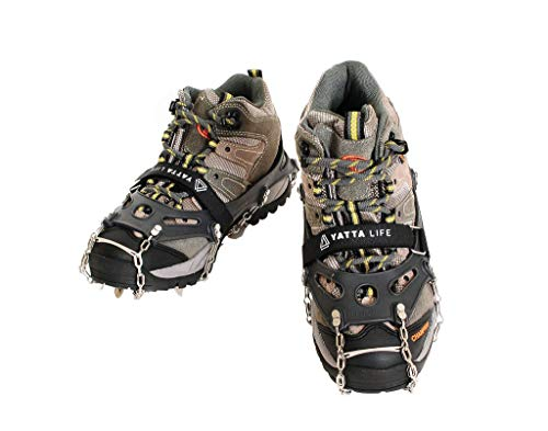 Yatta Life Heavy Duty 14-Spikes Trail Spike Ice Grip Snow Cleats Footwear Crampon for Walking, Jogging, or Hiking on Snow and Ice (Large (Black)
