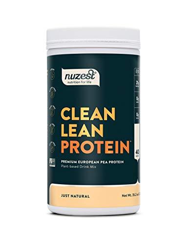 Just Natural (UNFLAVORED) Clean Lean Protein by Nuzest - Premium Vegan Protein Powder, Plant Protein Powder, European Golden Pea Protein, Dairy Free, Gluten Free, GMO Free, 40 Servings, 2.2 lb