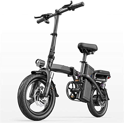 Elektrofahrrad Mountainbike City Folding Elektrische Fahrrad, Dual Scheibenbremse 14 Zoll Erwachsene Urban Pendler Ebike 400W Motor Sieben Stoßdämpfer mit Rücksitz Lithium Batterie Strand Cruiser für