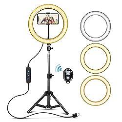 """Selfie Ringlicht mit Stativ, YBLNTEK 10""""/26CM LED Ringleuchte mit 3 Farbe und 10 Helligkeitsstufen, USB Dimmbare Handy Stativ mit Licht für Make-up,Live-Streaming,YouTube, Tiktok, Vlog+ Fernbedienung"""