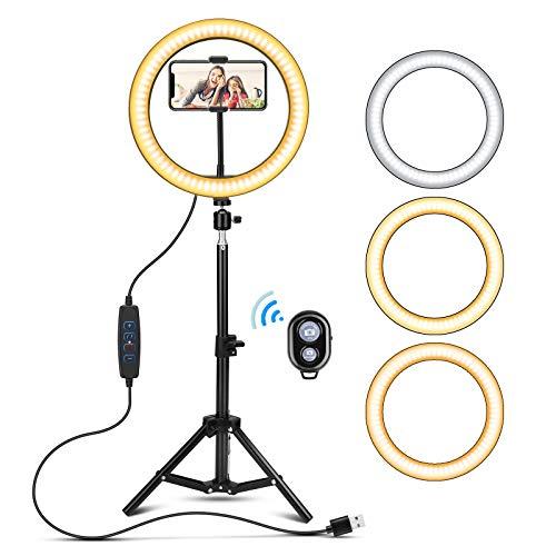 """Anillo de Luz LED con Trípode Selfie,10 """"USB Dimmable Desk Maquillaje Iluminación Kit con Bluetooth Para Video de YouTube, Vlog y Transmisión en Vivo 3 Modos de luz y 10 Niveles de Brillo"""