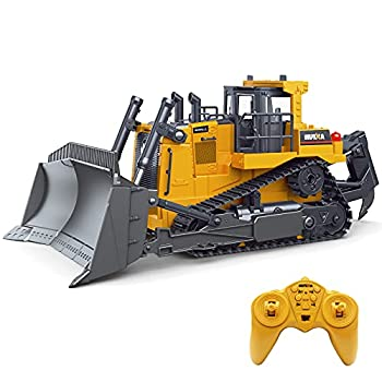 Fistone RC Bulldozer 1/16 9CH Remote Control Front Loader Tractor 2.4G Construction Vehicles Toys for Boys Kids Adults Gifts
