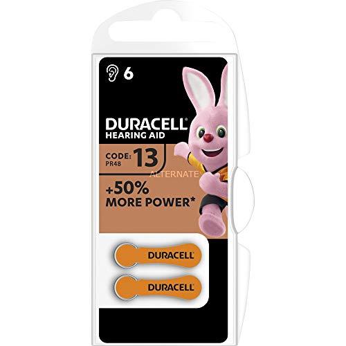 Duracell - Hörgerätebatterien - EasyTab Langlebige 1,4-Volt Zink-Luft-Batterien - Größe 13 - Sichtverpackung mit 6 Stück - Oranges Etikett