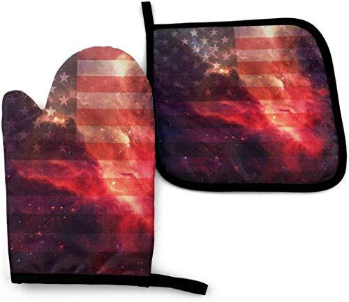 wenxiupin out Space Bandera Americana P Bandera Americana Juego de Soporte para ollas para Horno de Cocina, Resistencia al Calor Antideslizante S