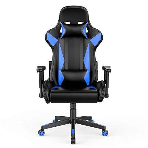 AmazonBasics BIFMA Certified Gaming/Racing Style Office Chair - with Removable Headrest and High Back Cushion - Blue, BIFMA Certified blue chair gaming