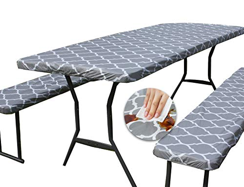 Rally Home Goods Vinyl Tablecloth Rectangular Fitted for Folding Table + Benches 3-pc Set, Flannel Backing Elastic 30x72'' (6-FT) Waterproof Wipeable, Gray Trellis Pattern Plastic Camping Picnic
