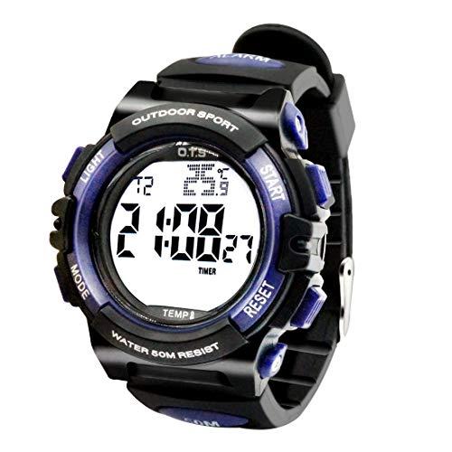 OTS - Reloj Deportivo para Niños Digital Resisitente al Agua Multifuncional con Luz Alarma Electrónico Infantil Regalo para Niñas - Negro Azul