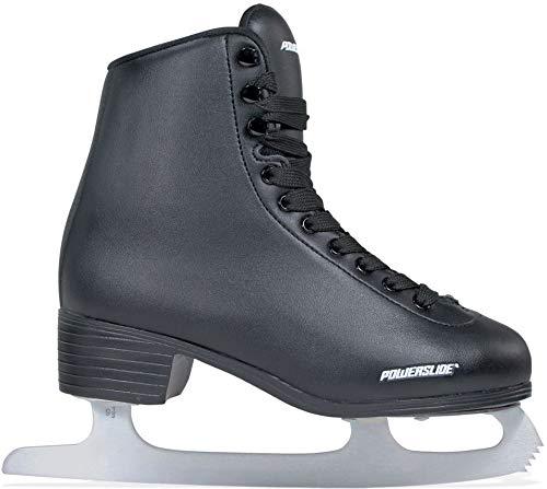 Powerslide Schlittschuhe Classic schwarz | Eislaufen | Damen und Herren | verstärkt | Samtfutter | Größe 45 | mit Armband