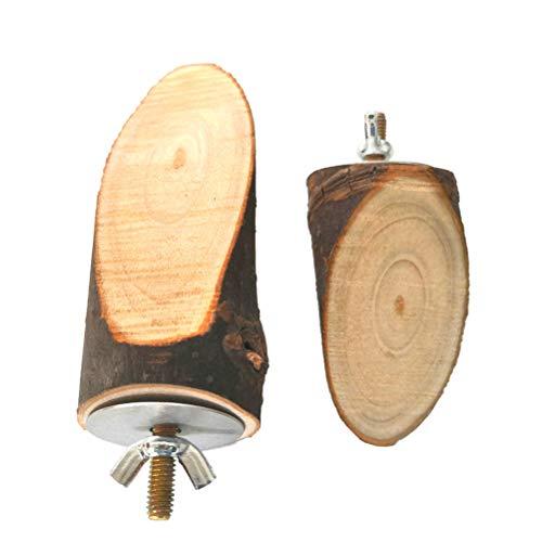 TEHAUX Pájaro de madera - 2 piezas de diferentes tamaños de madera natural loro percas plataforma ardilla hámster mascota periquito Budgie juguete jaula accesorios