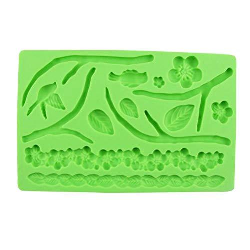 Best On Zone Moule à gâteau en silicone fait à la main en relief Motif feuille de sucre en forme de feuille