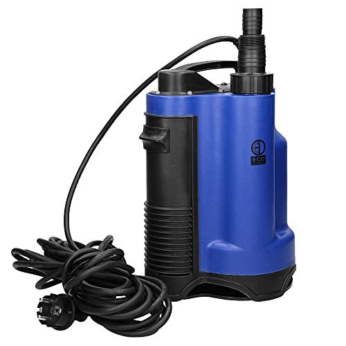 ECD Germany Schmutzwasserpumpe 750W mit Schwimmerschalter, Tauchpumpe mit Förderleistung max. 13000 l/h, Eintauchtiefe bis 7m, Förderhöhe max. 9m, Fremdkörper bis Ø 16mm, Gartenpumpe Kellerpumpe