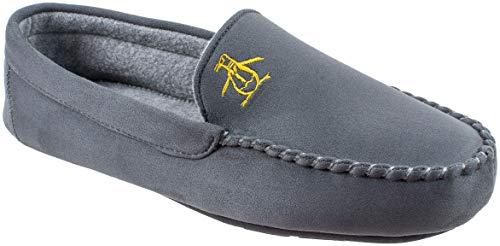 Original Penguin Mens Slippers, Microsuede Venetian Moccasin Slipper,Grey,Men's Size 8