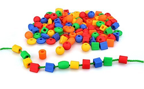 Lacing Beads for Toddlers (60 Stringing Beads,4 Strings) -Educational Montessori Preschool...