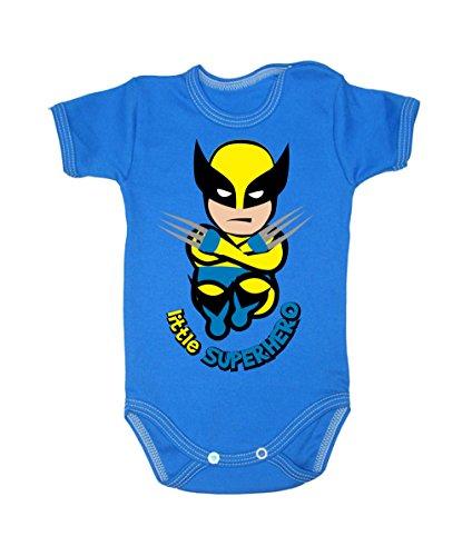 Colour Fashion Grenouillère à manches courtes pour bébé de 24 mois, 100 % coton, motif Wolverine bleu 0-3 months, 62 cm