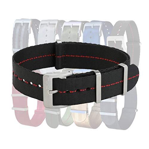 AlphaShark Slim Seat Belt Watch Strap by BluShark Black/Red Stripe JV Watch Strap 20mm Brushed Hardware
