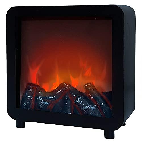 Aktive 35977 - Chimenea LED decorativa, efecto llamas, interior de troncos, 23x14,5x24,3 cm, Chimenea pilas, funciona con 2 pilas L/CR14 (no incluidas), Chimenea cuadrada , Ambients