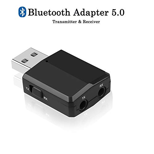 Bluetooth 5.0 Audio Transmitter Receiver, 3 in 1 Bluetooth Adapter for TV PC Headphones Home Stereo Car, Wireless Audio Adapter with 3.5mm AUX