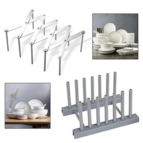 Soporte Tapas Ollas,Qiundar 2 Pcs Organizador Sartenes Extensible Ajustable Plástico de Acero Inoxidable Estante Ollas,Plate Racks para Cocina