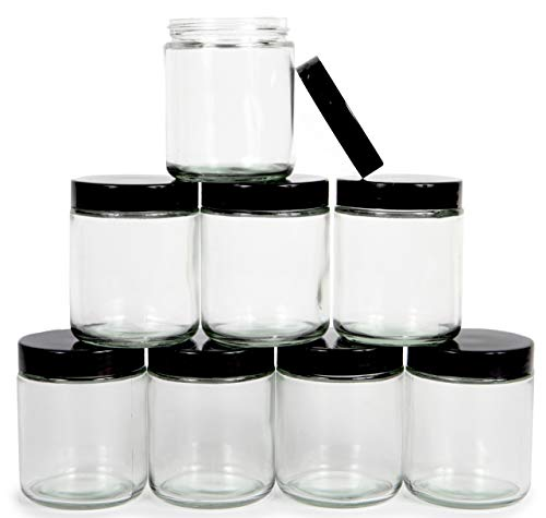 Vivaplex, Clear, 8 ounce, Round Glass Jars, with Black Lids - 8 pack