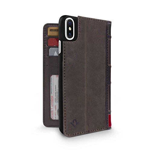 Twelve South BookBook for iPhone XS / iPhone X | 3-in-1 Leather Wallet Case, Display Stand and Removable Shell (Brown)