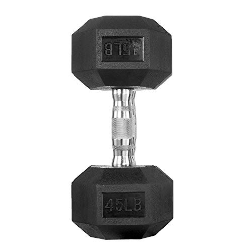 papababe Dumbbells Free Weights Dumbbells Weight Set Rubber Coated cast Iron HeX Black Dumbbell Single (45, Single)