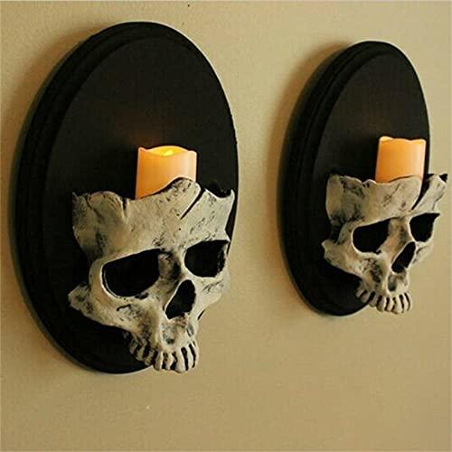 Gothic Home Decor, Wall Candle Holder Skull Decor, Skeleton Skull Candlestick Holder Sculptures,...