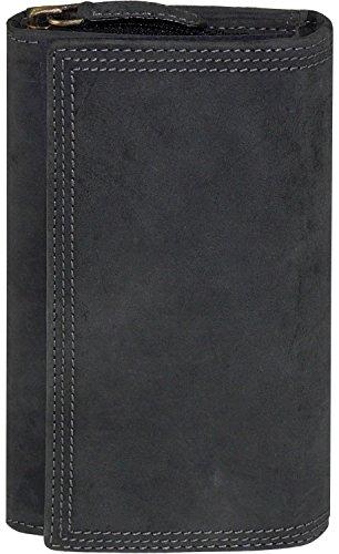 Lange Damenbörse mit Reißverschluss im Vintage Stil, Farben:schwarz