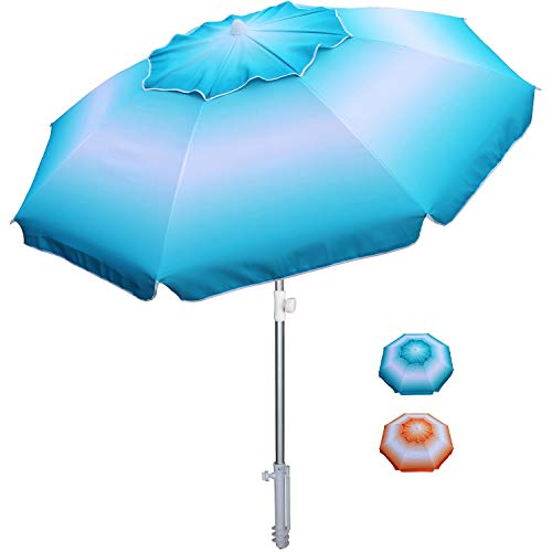 AMMSUN 6.5 ft Beach Umbrella with Tilt Aluminum Pole Separate Sand Anchor, Portable Windproof Beach Umbrella with UPF50+ Protection, Easy Carry Bag Included (Blue/White)
