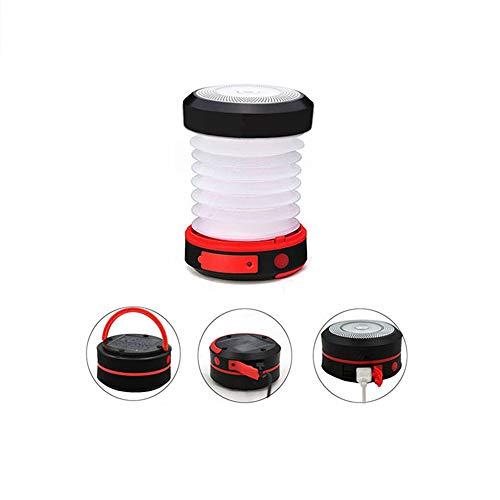 NOBLJX LED Camping Lanterne Pliable Solaire Tente lumière 1W USB Charge Nuit d'urgence Lampe de Poche lumières en Plein air randonnée pêche Tente Camping Mobile Lights,Red