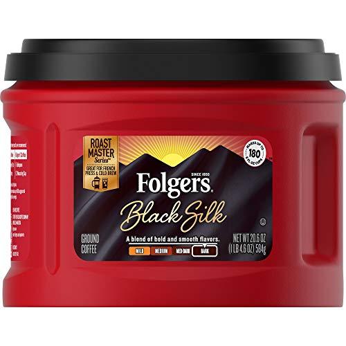 Folgers Black Silk Dark Roast Ground Coffee, 20.6 Ounces (Pack of 3)