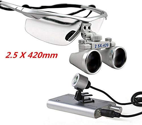 RANZIX LED Binokular lupen Surgical loupes 2.5X420mm + Lupenbrille Headlight + Black Bag