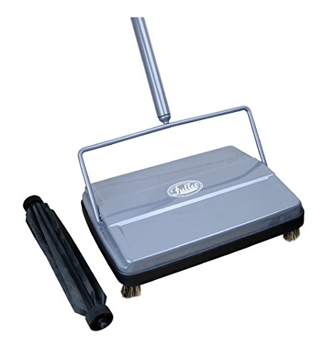 "Fuller Brush 17042 Electrostatic Carpet & Floor Sweeper with Additional Rubber Rotor - 9"" Cleaning Path - Lightweight - Ideal for Crumby & Wet Messes - Works On Carpets & Hard Floor Surfaces - Gray"