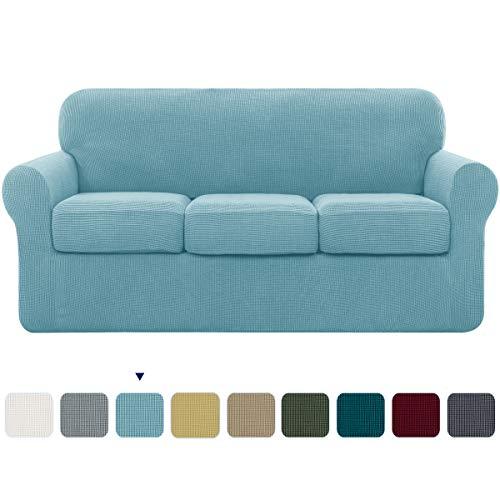 Subrtex Funda de sofá con fundas de cojín separadas, funda elástica de repuesto antideslizante para muebles, azul claro, 3 Seaters